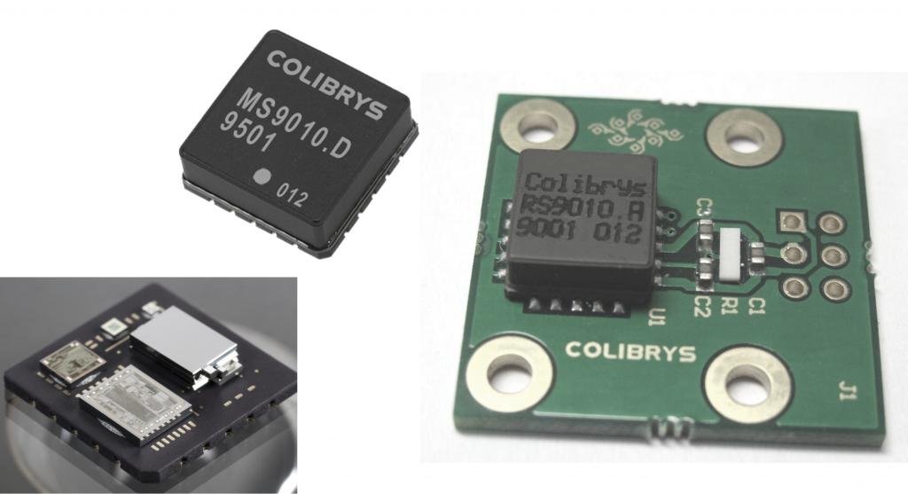 图示2: MS9010.D (LCC20: 内部和封盖)  和 RS9010.A (LCC20 在评估板上).